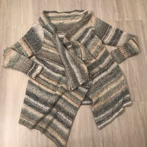 Boston Proper Waterfall Striped Shall Cardigan